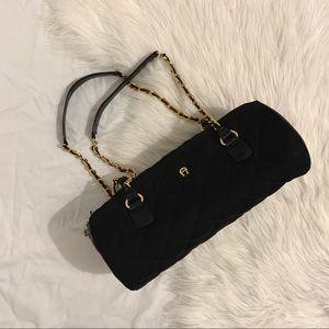 Etienne Aigner Black Quilted Cylinder Bag
